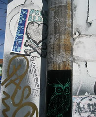 Full Blood - (OvO) (liquidnight) Tags: streetart bird portland heart stickers owl bones crossbones ovo ephemeralart fullblood