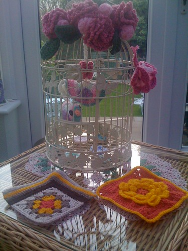 Annes' Squares by my Birdcage! Pretty Colours I love them!