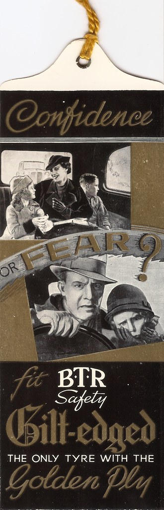 """""""Confidence - or fear? - BTR Tyres bookmark, 1937"""