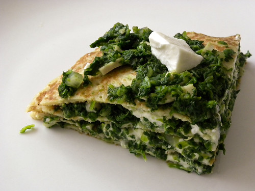 A spinach pancake pie (!!!)