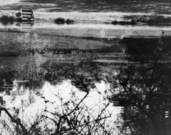 B&W Pond (Mark Tenney) Tags: morning blackandwhite blur reflection boat pond nikond50 iloveit