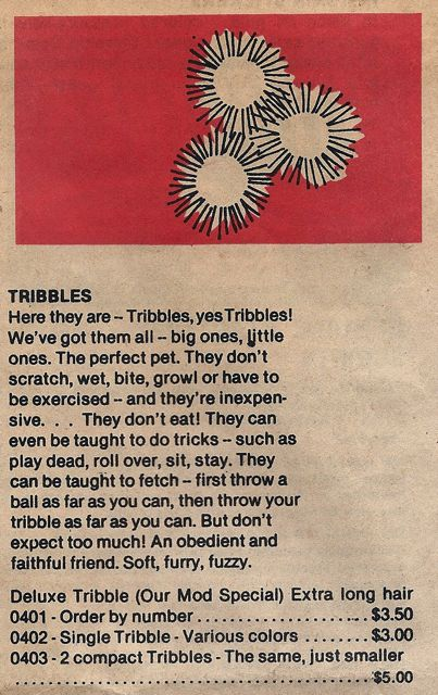 Tribbles from Lincoln Enterprises catalogue