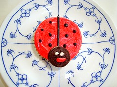 Ladybug Cupcake (DolceDanielle) Tags: red food black beautiful kids easter dessert fun cupcakes baking spring colorful gorgeous mini snack ladybug vanilla oreo bake frosting buttercream