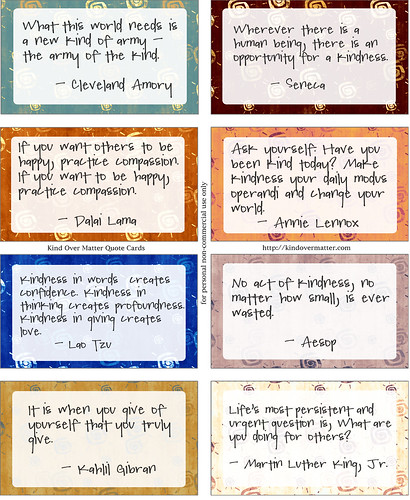 Kind Over Matter Quote Cards