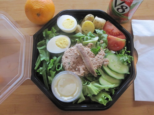 Niçoise salad and V8 from Cartet - $10.50, free orange from the bistro