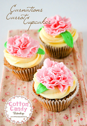 Carnations Carrot Cupcakes