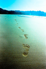 foot print (mirabcmira) Tags: morning white beach nature 35mm indonesia sand nikon westjava f90x