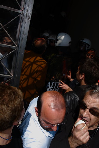 Riot police clash with protesters in entrance to Thessaloniki town hall - Greece