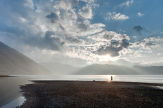 Motosunset (Clint Koehler) Tags: sunset lake reflection japan fishing asia glare dri yamanashi hdri reel flyfish angler motosu photomatix motosuko 9xp fuji5lakes nikond700 142428