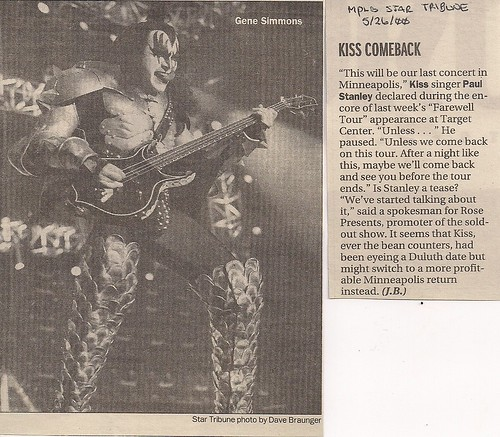 05/17/00 Kiss @ Minneapolis, MN (Newspaper Article)