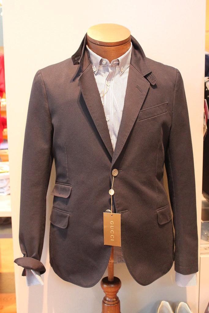 82fcf67ce Americana sport de algodón Gucci azul marino de la colección Primavera  Verano 2010, camisa cuadro vichy azul Gucci