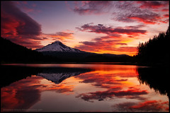 Trillium Lake On Fire (Darren White Photography) Tags: lake reflection nature clouds sunrise landscape volcano nikon scenic pacificnorthwest mounthood trilliumlake d300 darrenwhite oregontravel traveloregon northwestlandscapes darrenwhitephotography landscapesofthenorthwest