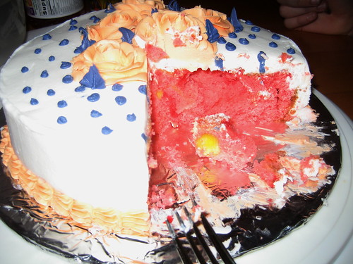 Cake with a surprise in it.