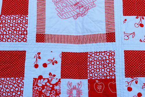 redwork quilt detail