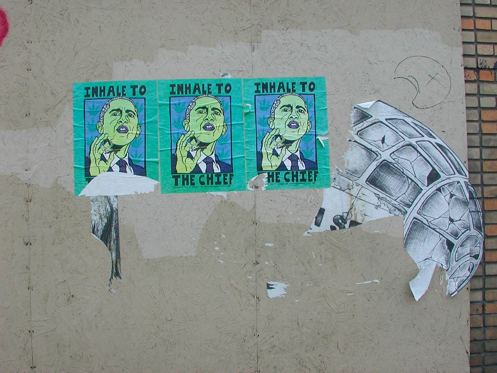 INHALE to the CHIEF, PG, Street Art, Graffiti, Poster, POLITICAL GRIDLOCK