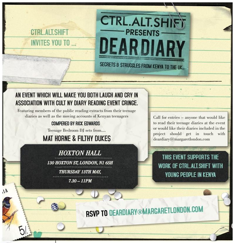 Ctrl.Alt.Shift Dear Diary Event Invite