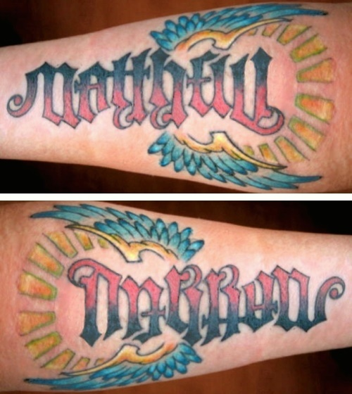 """Matthew"" & ""Darron"" Ambigram Tattoo"