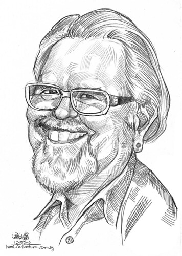 Caricature of David Robert Wooten in pencil (edited)