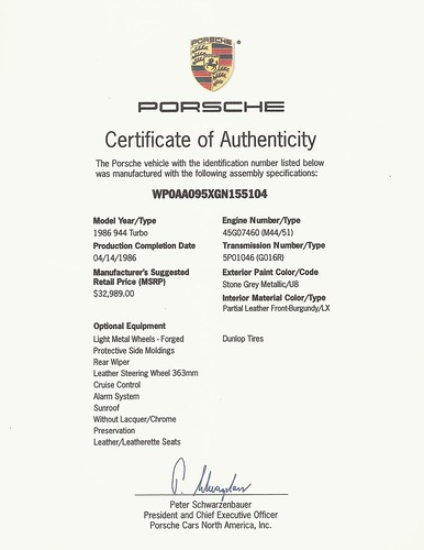 porsche certificate of authenticity Porsche Certificate of Authenticity CoA - a photo on Flickriver