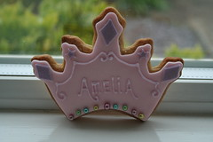 Princess Crown Cookie (Iamalion) Tags: pink party girl glitter cookie purple princess sweet girly sparkle biscuit icing crown amelia jewels piping fondant