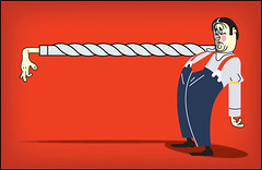 BANK MANAGER (SW_illo) Tags: boss blue shadow red horizontal shirt illustration pain hands sad arm braces blu background over bank twist knot bent manager plain vector salesman upset pant dumpy