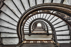 Looking Up the Rookery Building Spiraling Staircase - Chicago (Mister Joe) Tags: chicago up stairs joe lasalle hdr burnham spiralstaircase historicallandmark rookerybuilding johnwellbornroot thechi
