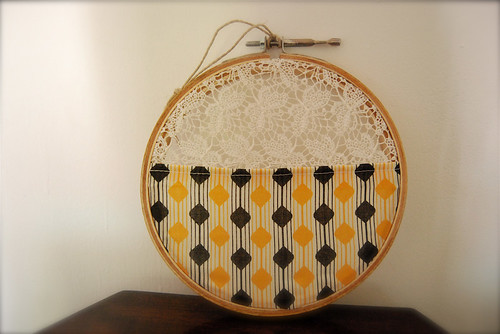mummy's fabric in a hoop
