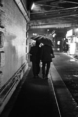 UNDER THE BRIDGE, UNDER THE UMBRELLA (ajpscs) Tags: street bridge bw blancoynegro rain japan umbrella japanese tokyo blackwhite nikon streetphotography monochromatic  nippon  blkwht grayscale salaryman shinbashi  d300 2men afteroffice  monokuro ajpscs