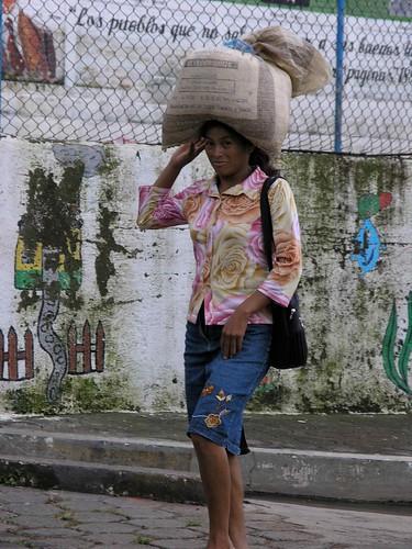Woman carrying food - Mujer llevando comida; Alegria, Usulután, El Salvador