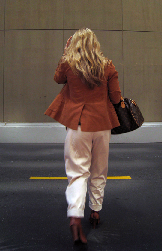 blonde waves+cuffed khaki pants