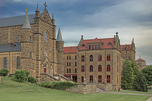 Saint Meinrad Archabbey, in Saint Meinrad, Indiana, USA - exterior of church and seminary