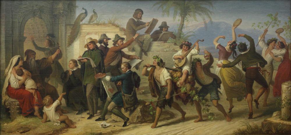 Wilhelm von Kaulbach, Das Studium der deutschen Künstler neuerer Zeit in Rom, 1848