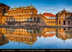 Germany - Dresden - Late Evening Reflection of Zwinger Palace ( Lucie Debelkova / www.luciedebelkova.com) Tags: world pictures longexposure trip travel light vacation holiday color building tourism beautiful architecture night composition wonderful germany photography dawn lights evening photo nice fantastic twilight graphics europe foto tour exterior place shot graphic image dusk awesome country illumination eu grand visit images location tourist structure illuminated nighttime photograph journey german stunning destination traveling lovely visiting exploration incredible touring europeanunion breathtaking built illuminate centraleurope deutch icture luciedebelkova wwwluciedebelkovacom