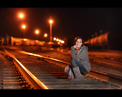 Megan ~ Twilight Railroad Senior (~Phamster~) Tags: railroad cactus senior night canon twilight strobist phamster