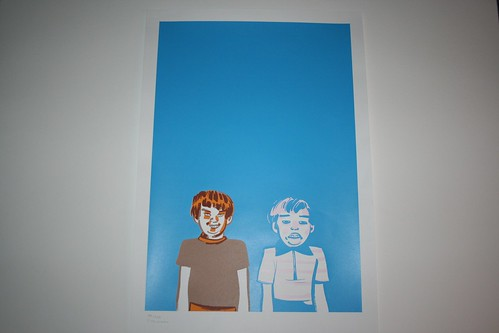 Steven Weisman Poster: Two Kids on Blue