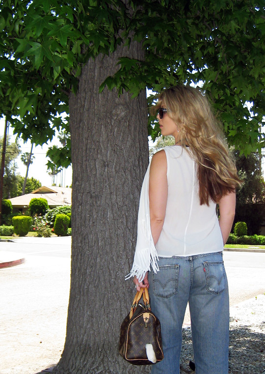 Leyendecker blouse+ripped Levis jeans+Miu Miu clog sandals+Louis Vuitton bag-4