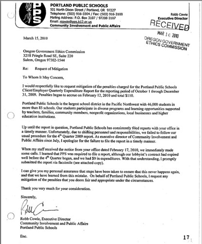 PPS letter to Ethics Commission