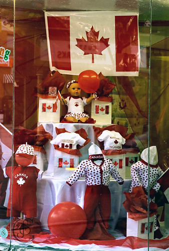 A window in a downtown Orillia shop all dressed up for Canada Day.