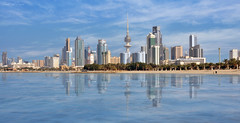 Kuwait City! ( Panorama ) (Saad Al-Enezi) Tags: city blue sky panorama seascape tower beach water clouds reflections nikon towers kuwait kuwaitcity waterscape d300 crazyheart arabiangulfsea saadalenezi