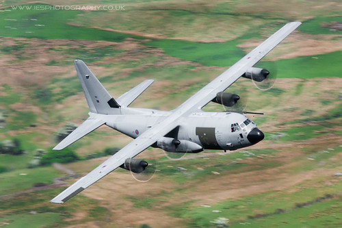 ZH884 C-130 Hercules Low Flying Aircraft in the Mach Loop in Wales