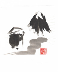 Zen Monk on Journey (plasticpumpkin) Tags: mountain watercolor landscape asian monk journey zen enlightenment shinto tao taoist sojourn brushpainting