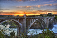 Sunset in Spokane (Thad Roan - Bridgepix) Tags: bridge sunset river washington spokane arch jim falls historic 201005 facebook monroestreet jimgspokane