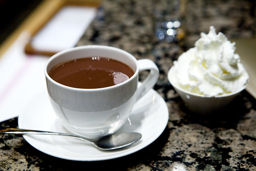Caracas hot chocolate with whipped cream on the side