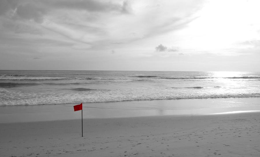 red flag at Karon beach Phuket