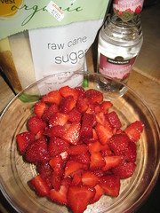 The makings of  strawberry sorbet