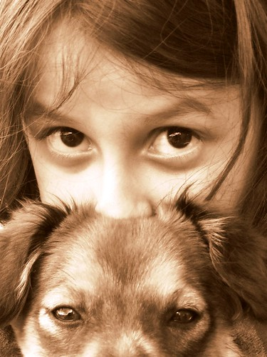 kid and dog's eyes