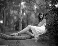 in a forest (thodoris markou) Tags: portrait bw white film analog forest dress 4x5 largeformat speedgraphic hektor leitz 150mmf25 erapss