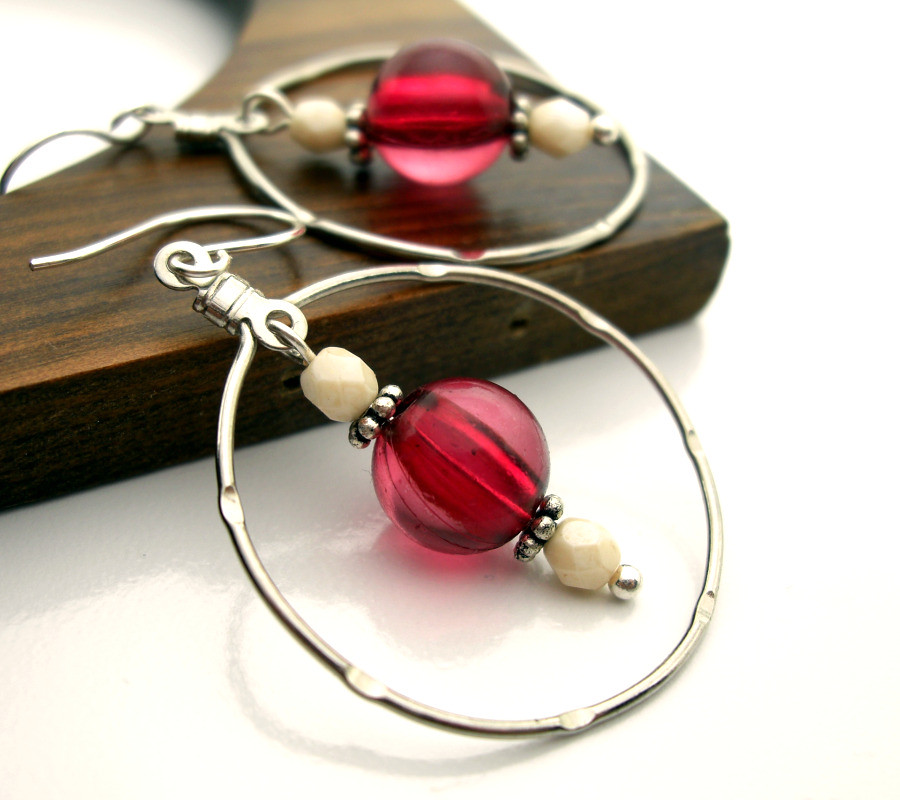 Raspberry Dangle Silver Hoop Earrings