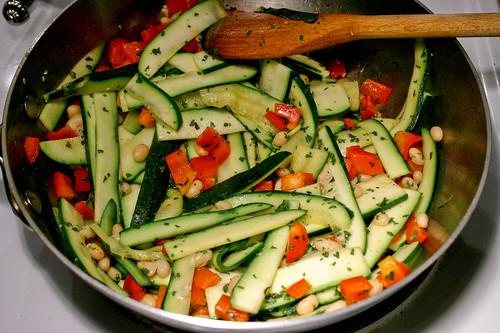 stir together ingredients in pan