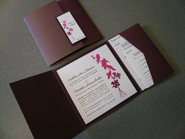 Interior exterior view of wedding invitation